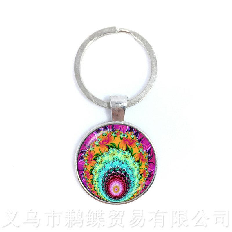 Cabala سلاسل المفاتيح شجرة الحياة الزجاج كابوشون كيرينغ اكسسوارات للرجال النساء الأطفال قلادة مجوهرات الإبداعية هدية