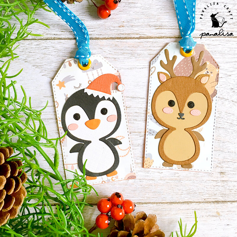 قطع معدنية لأعياد الميلاد باناليساكرافت على شكل البطريق والغزلان ، ستنسل لألبوم قصاصات الورق ، بطاقات مزخرفة يمكنك صنعها بنفسك