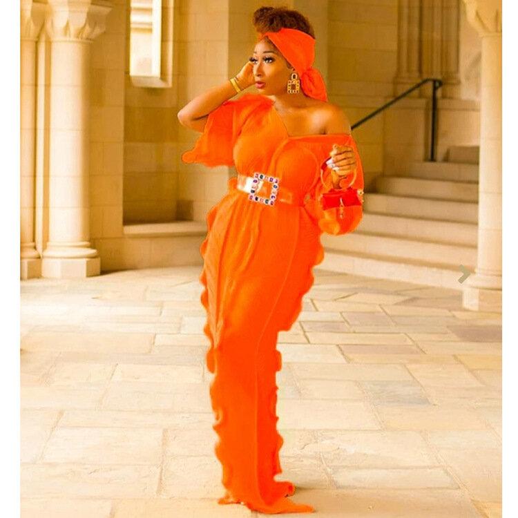 موضة مطوي فستان مكشكش ربيع 2021 جديد الأفريقي حجم كبير المرأة الخامس الرقبة الأكمام مع حزام باندانا جودة عالية فستان طويل