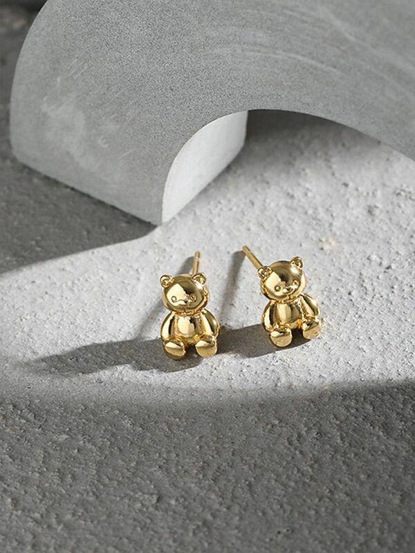 S'STEEL فضة 925 أقراط هدية للمرأة لطيف الدب القرط الكورية القوطية مضحك أقراط غرامة مجوهرات Pendientes