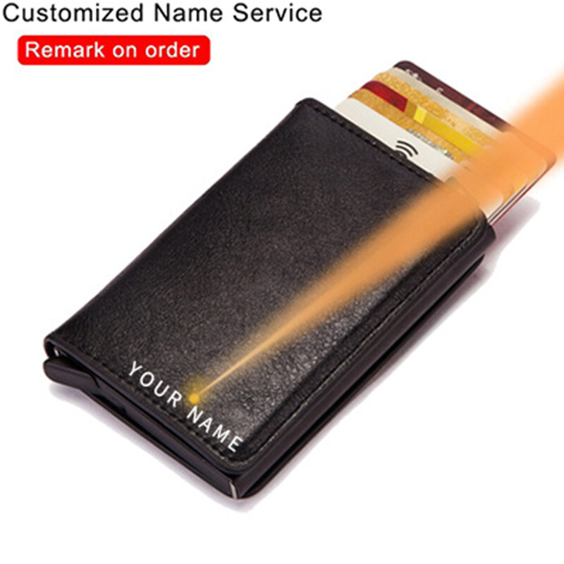 تتفاعل حجب حماية الرجال معرف الائتمان محفظة حمل بطاقات جلدية معدن الألومنيوم الأعمال البنك حافظة بطاقات الائتمان حامل بطاقة