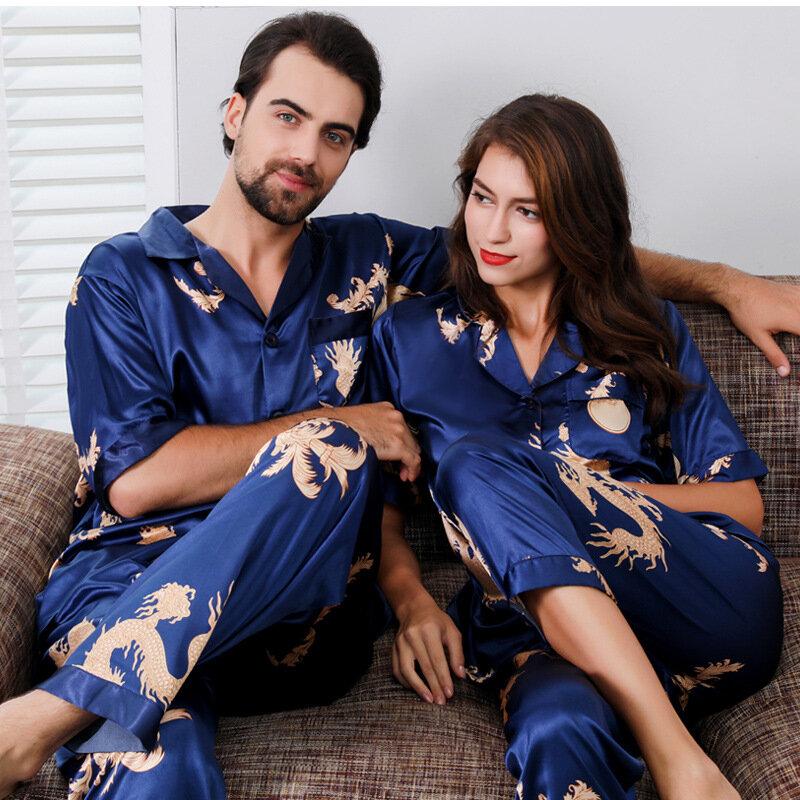 زوجين الحرير الحرير منامة منامة مجموعة طويلة الأكمام ملابس خاصة بيما منامة دعوى النساء و رجل النوم 2 قطعة مجموعة تنحيف زائد حجم