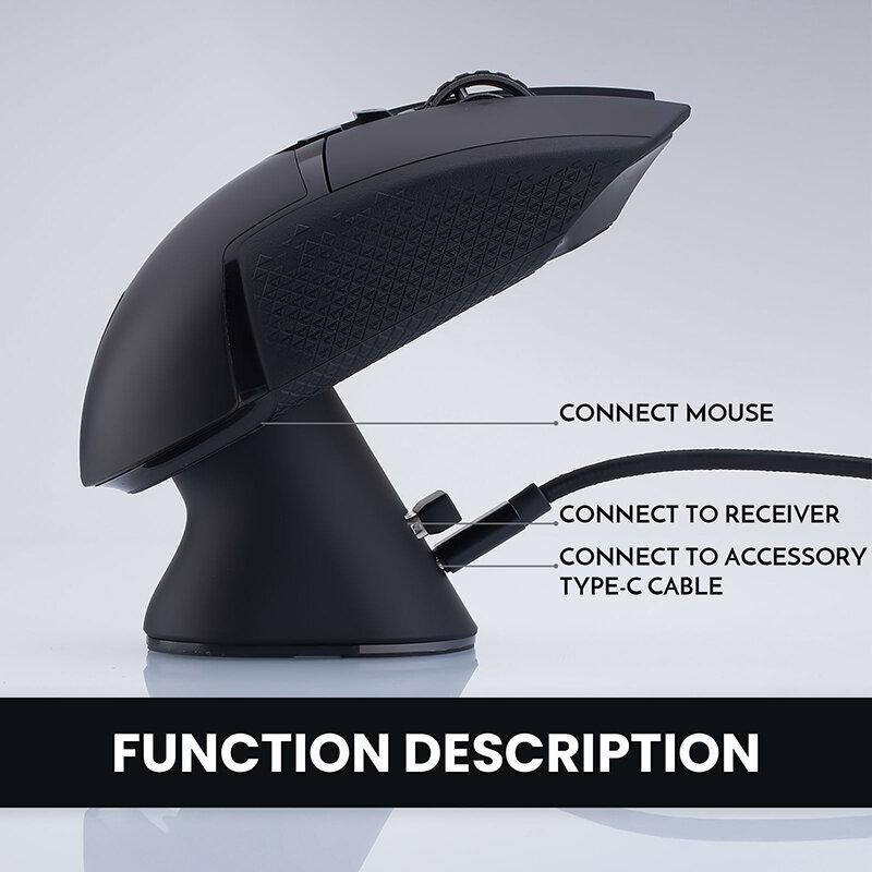 جهاز شحن لاسلكي من البلاستيك من Pitta Studio Mouse قاعدة شحن متوافقة مع Logitech GPW GPX G Series G502 Superlight