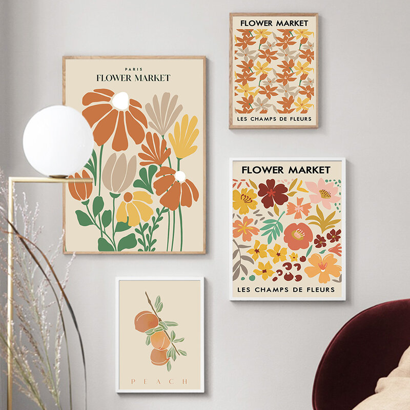 ماتيس الملونة زهرة ورقة الرسم على لوحات القماش الجدارية الشمال الملصقات والمطبوعات الحديثة الفن جدار صور لغرفة المعيشة ديكور