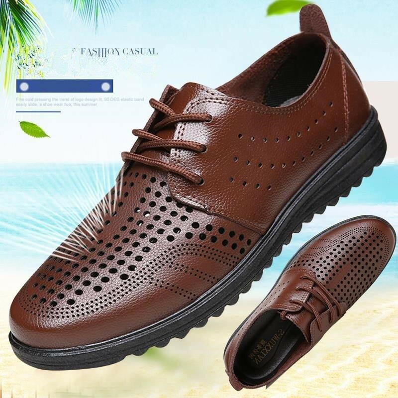 الرجال الصيف تنفس مرن محرك الأعمال اللباس أحذية الرجال اليدوية بلون ثقب عارضة الأحذية Loafers39-44