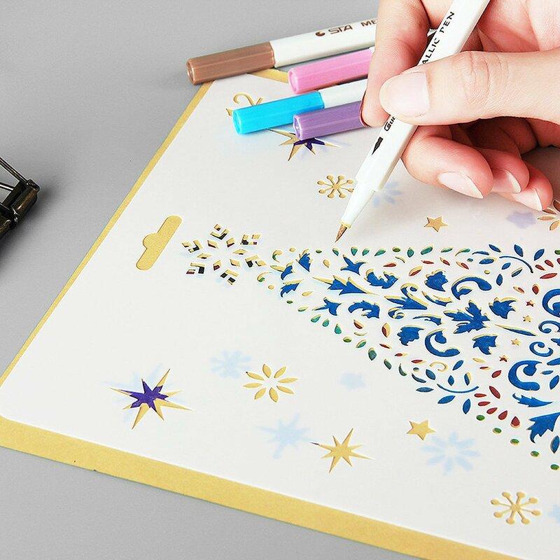 17.5*26 عيد الميلاد طبقات الإستنسل قالب اللوحة الكتابة على الجدران اليد نسخ المجلس جوفاء من ألبوم صور أداة الرسم رذاذ