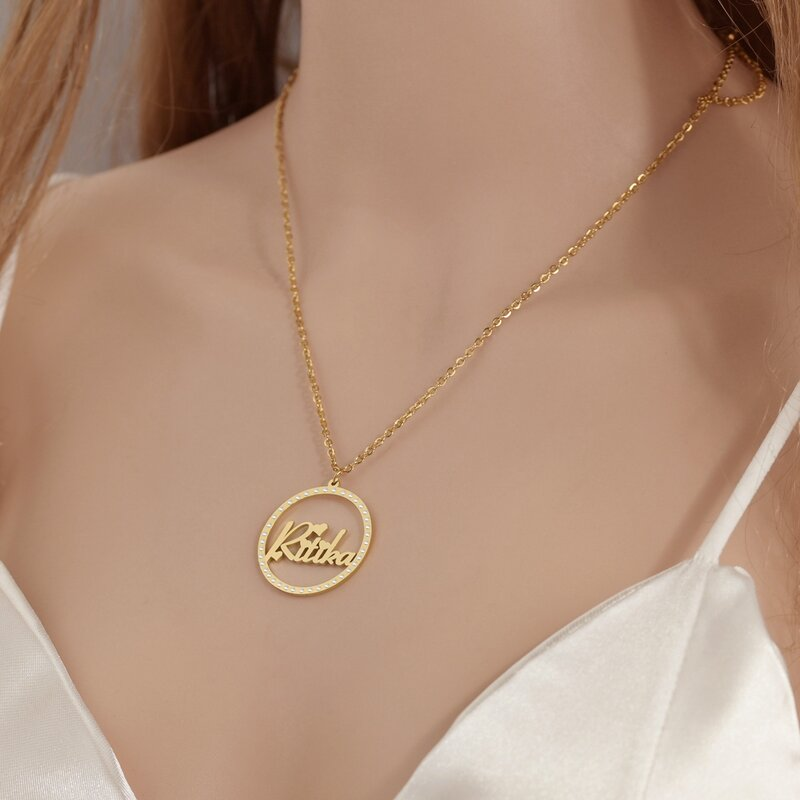 Goxijite مخصص اسم قلادة بالحجارة للنساء شخصية دائرة اسم الزركون القلائد أفضل المجوهرات هدية