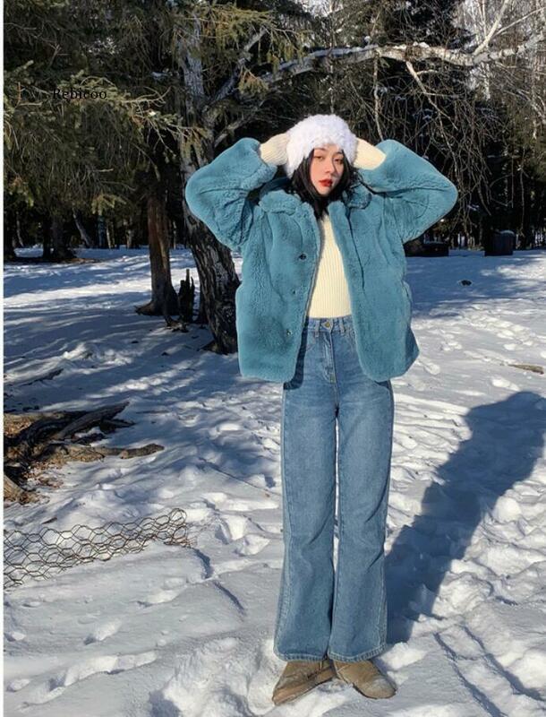 المرأة فو الفراء الدافئة سترة سميكة Buckles بدوره أسفل طوق الإناث الشتاء الحلو معطف الفتيات ملابس خارجية أنيقة