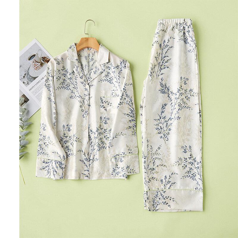 طقم بيجامة نسائي صيفي من القطن بطبعة زهور ، ملابس نوم ، نمط حديث ، ياقة مقلوبة ، ملابس منزلية غير رسمية