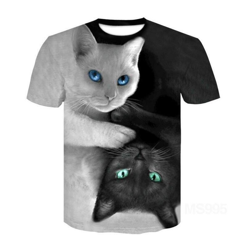 القط دوول قصيرة الأكمام تي شيرت نصف كم ثلاثية الأبعاد مطبوعة تي شيرت بلايز الرجال النساء الحيوانات الأليفة تي شيرت الآسيوية حجم 6xl