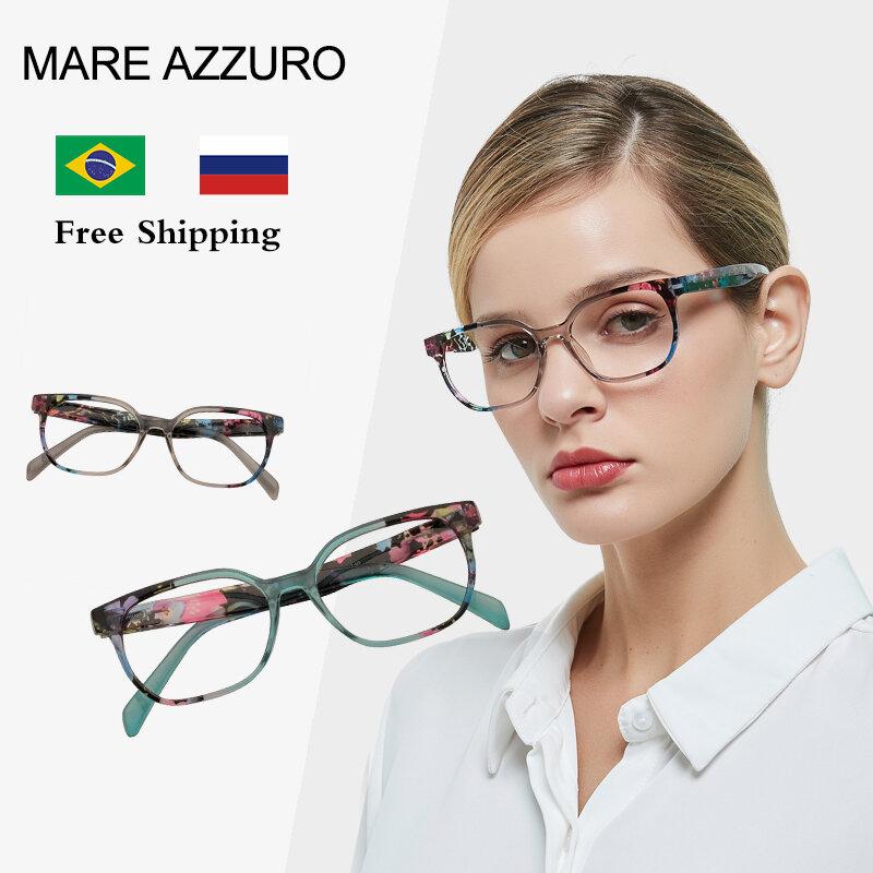 أنيق مستطيل نظارات للقراءة المرأة موضة الأزرق قارئ نظارات مع نمط طباعة التكبير نظارات طويل النظر الزجاج