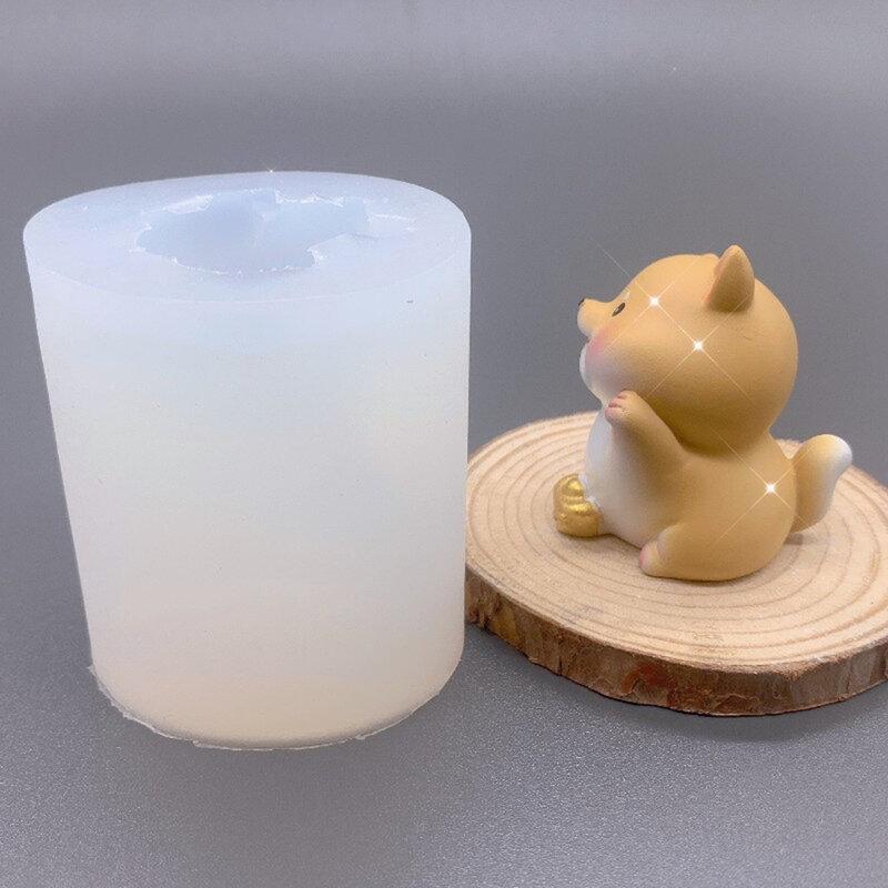 الكلب قالب شمع لطيف الكرتون يوانباو فورتشن جرو الروائح شمعة الجص قالب من السيليكون الراتنج الزينة قالب هدية