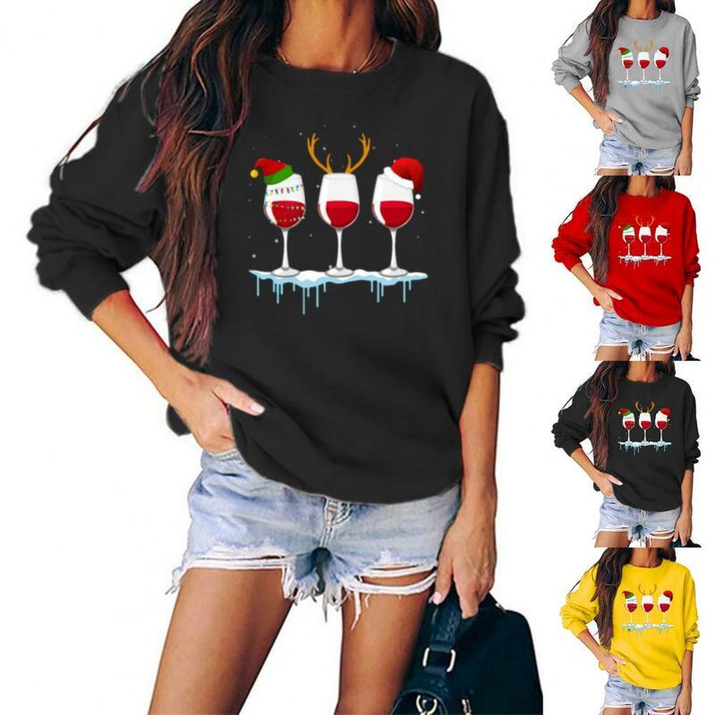 بلوزة المرأة الخريف الشتاء كم طويل Wineglasses طباعة عيد الميلاد بلوزة البلوز