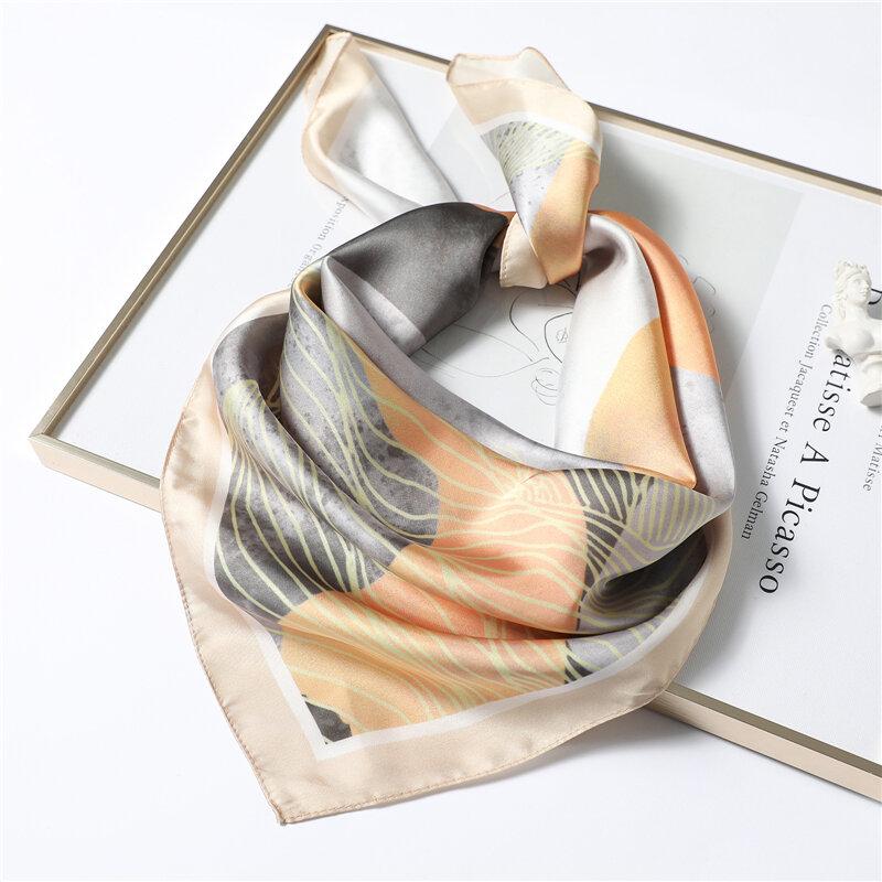 وشاح حريري أنيق مربع شال طباعة النساء الرقبة الأوشحة يلتف Foulard الإناث باندانا عصابة رأس الشعر منديل 2021 جديد