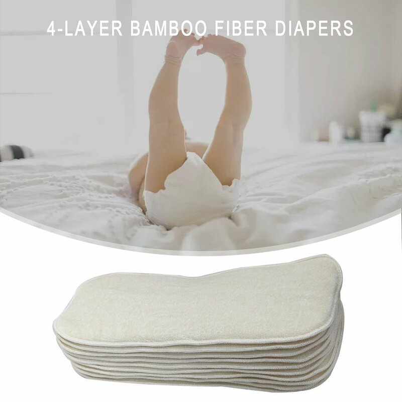 تنفس 4-layer الخيزران الألياف حفاضات قابل للغسل وصديقة للبيئة سوبر ماصة وسادة الطلفل المتغيرة