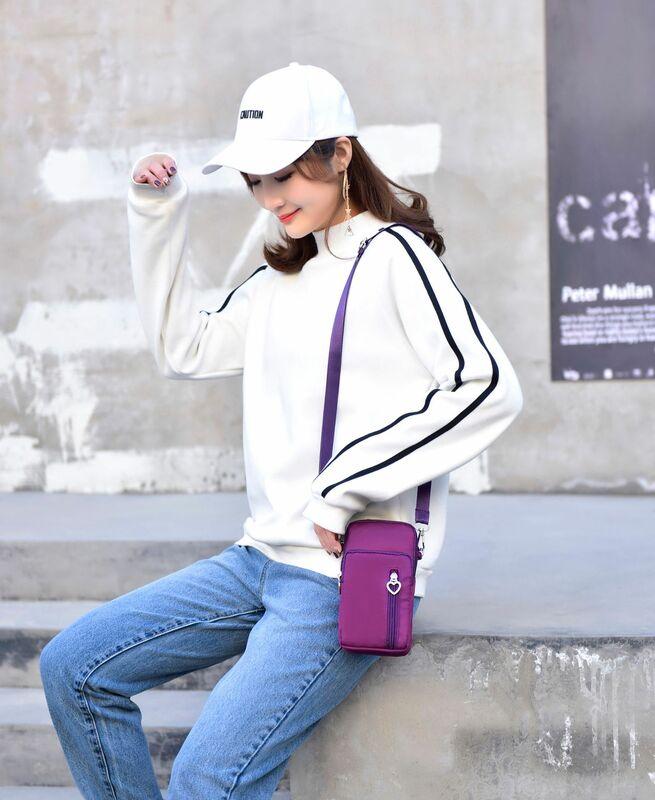 2020 جديد حقيبة الهاتف المحمول الإناث حقيبة ساعي حقيبة صغيرة وضع حقيبة الهاتف المحمول معلقة الرقبة محفظة نسائية للعملات المعدنية الصيف