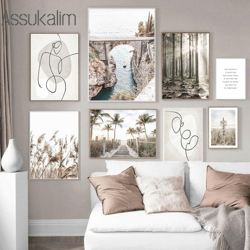 المناظر الطبيعية قماش اللوحة نهر جسر المشارك مجردة خط الفن طباعة ريد شجرة الملصقات الشمال جدار صور ديكور غرفة نوم