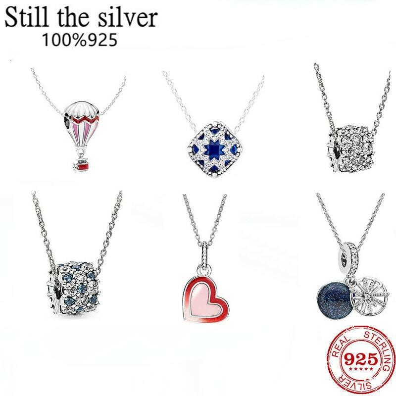 الأعلى مبيعًا 100% 925 عقد أصلي من الفضة الإسترليني مناسب مع قفل الحب بالون قوس قزح كريستالي كخاتم زفاف فاخر يمكنك صنعه بنفسك