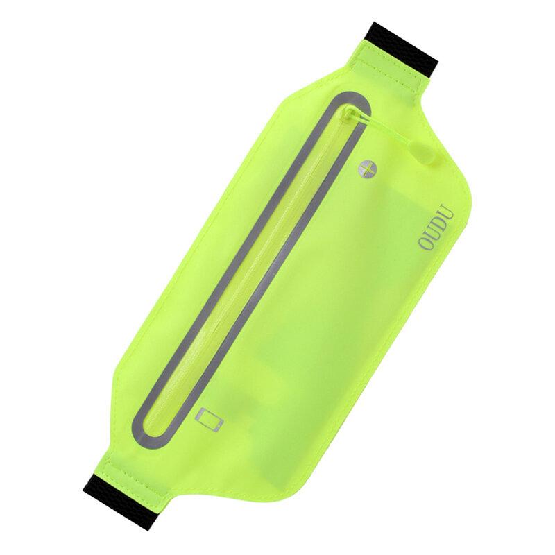 حزام مطاطي محمول للجنسين الخصر حزمة لتشغيل اللياقة البدنية مقاوم للماء الرياضة الخصر حقيبة 6.5 بوصة رقيقة جدا مع ثقب سماعة الرأس