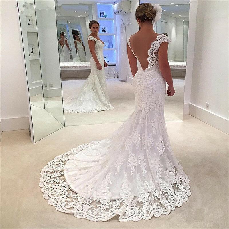 Nuoxfang-فستان زفاف مثير على شكل حورية البحر ، فستان زفاف أنيق من الدانتيل برقبة على شكل V ، 2020