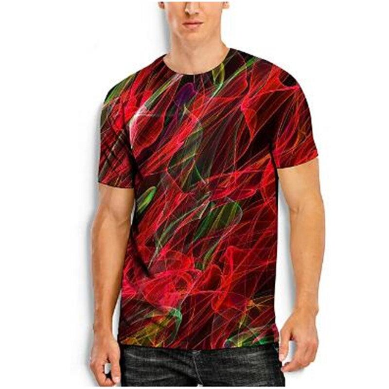 2021 الصيف الرجال أعلى تي شيرتات قصيرة الاكمام 3D اللون خط الطباعة نمط تي شيرت رجالي عارضة جولة الرقبة الشارع ارتداء