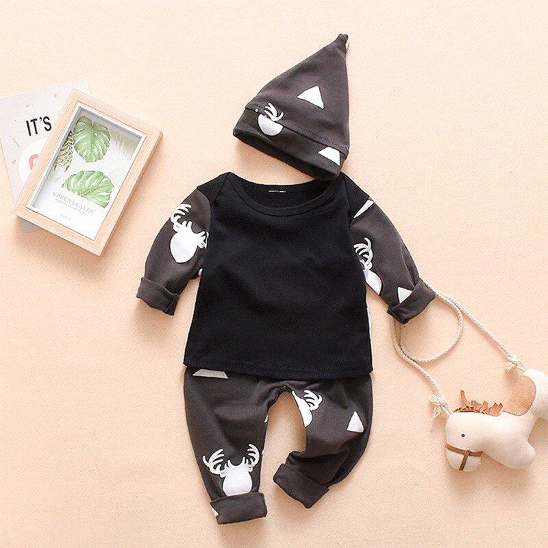عيد الميلاد بيبي بوي فتاة مجموعة ملابس الوليد القطن المطبوعة بأكمام طويلة الكرتون طباعة بلوزات + السراويل قبعة