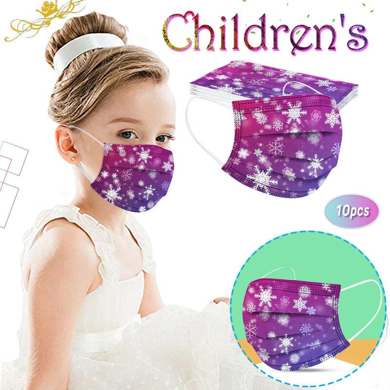10 قطعة الاطفال قناع غير قابل لإعادة الاستخدام لعيد الميلاد قناع الوجه للأطفال الفتيات الطفل ثلج الطباعة حماية أقنعة هالوين الديكور