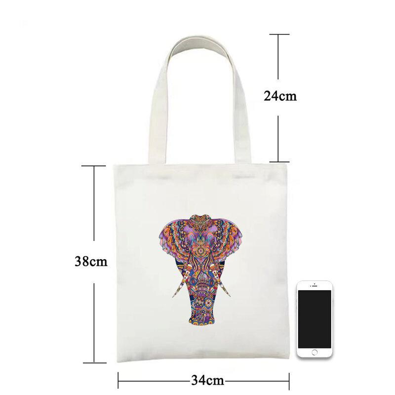 حقيبة كتف الفيل بوهيميا المرأة قماش حمل حقيبة 2021 حقائب بيد علوية أنيمي قابلة لإعادة الاستخدام Totebag المتسوق مع طباعة حقائب اليد