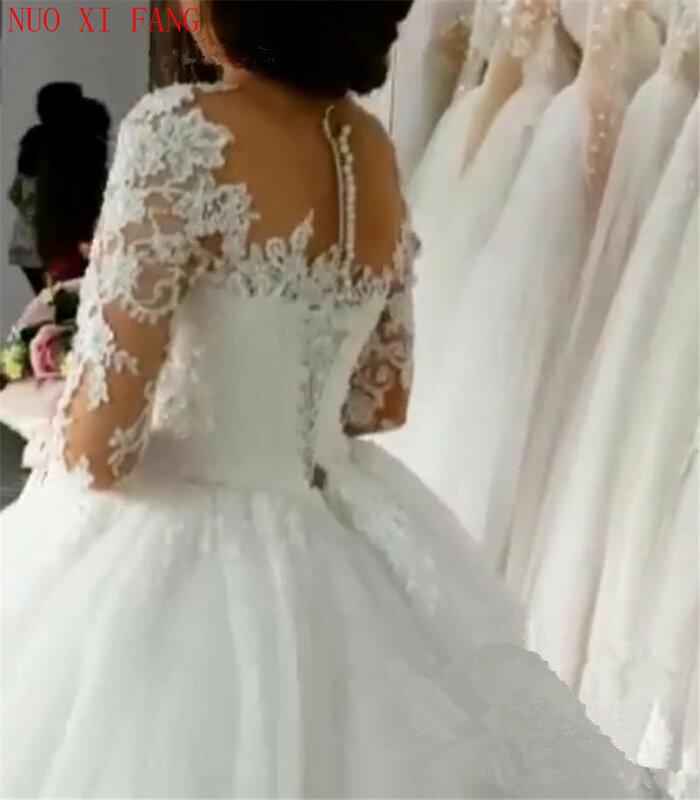 فستان زفاف مزين بالدانتيل ، على الطراز العربي ، بأكمام طويلة ، تأثير وهمي ، ياقة دائرية ، أميرة ، 2020