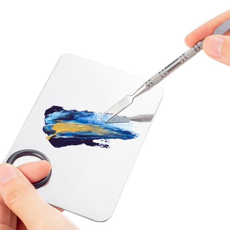 الصلب رسم بالألوان المائية لوحة صينية خلط قضيب ملعقة لوازم مجموعة أداة الفن مدرسة النفط ماكياج اللوحة للأظافر N2U7