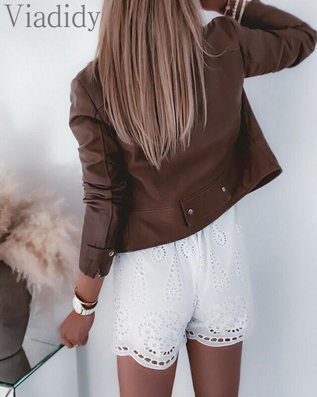 المرأة عادية تفريغ الدانتيل كم قصير أبيض Playsuit
