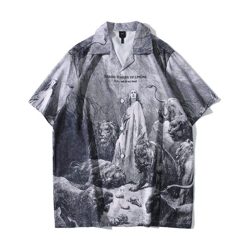 قميص هاواي صيفي الرجال الصيف عطلة الشاطئ قمصان رجالية خمر الشارع الذكور