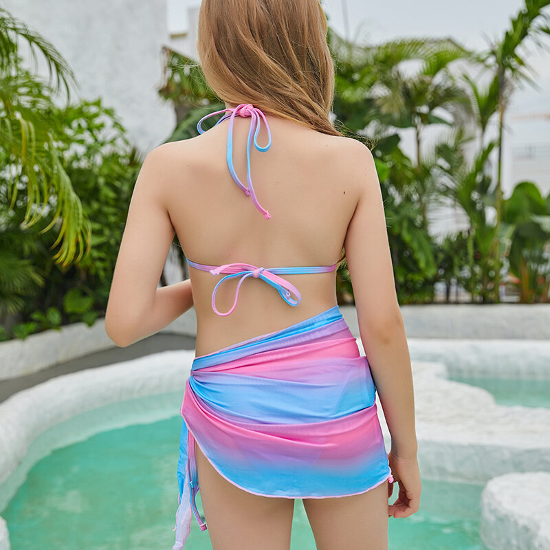 ماء أميرة متعدد الألوان البيكيني الاطفال ملابس السباحة 2021 الصيف عالية الخصر لباس سباحة الرسن مجموعة البكيني 130-160 5-14 سنوات