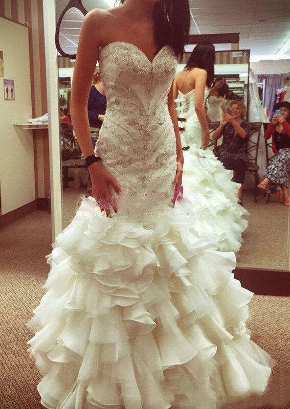 فاخر حورية البحر فستان الزفاف حجم كبير بلورات المتتالية الكشكشة مثير عارية الذراعين الحبيب زي العرائس مخصص