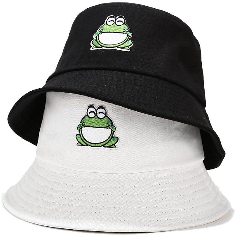 2021 الضفدع قبعة بحافة للنساء الصيف الخريف عادي الإناث بنما التنزه في الهواء الطلق شاطئ قبعة الصيد واقية من الشمس امرأة Sunhat بوب