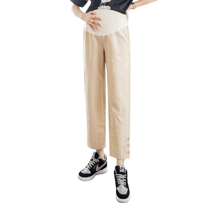 8515 # Summer رقيقة القطن الأمومة مستقيم السراويل واسعة الساق فضفاضة مرونة الخصر البطن سراويل تقليدية الملابس للنساء الحوامل