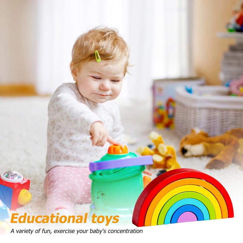 طفل قوس قزح مكدس اللبنات ألعاب مونتيسوري الرضع اللبنات Diy بها بنفسك التوازن قوس جسر لعبة