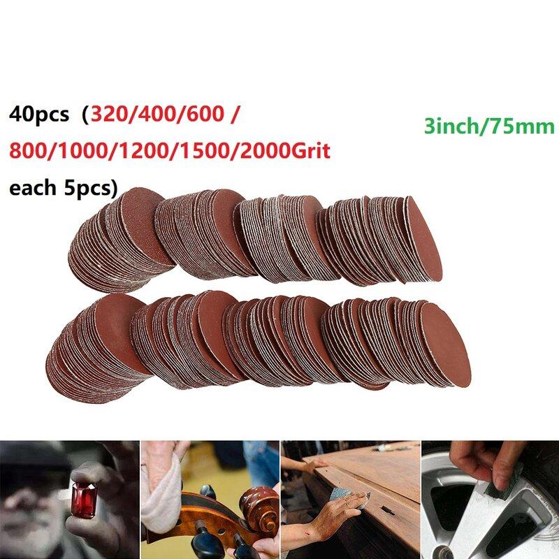 40 قطعة/المجموعة الرملي أوراق 75 مللي متر-80 مللي متر Sandpapers 320/400/600 / 800/1000/1200/1500/2000 الحصباء الطاقة أداة جولة الصنفرة
