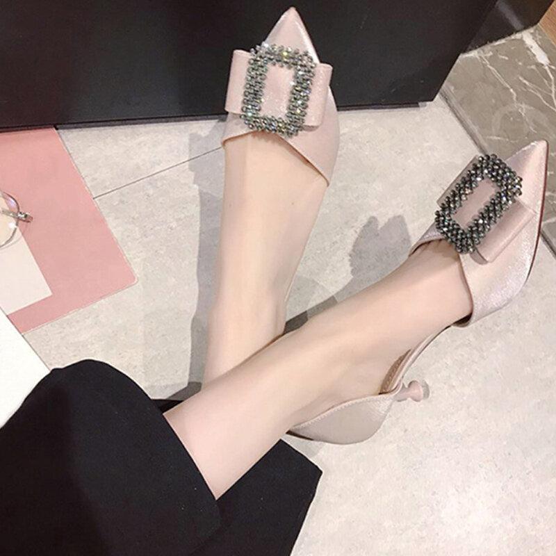 حذاء نسائي بكعب رفيع ومرصع بالكريستال حذاء نسائي مكشوف الأصابع سهل الارتداء حذاء نسائي صيفي أنيق حذاء نسائي من البولي يوريثان رسمي موديل 2021