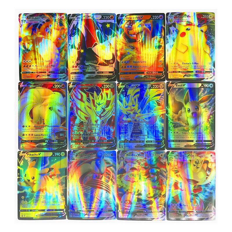100 قطعة من بطاقات اللعب الفرنسية لألعاب بوكيمون VMAX هوايات هوايات هوايات جمع الألعاب بطاقات أنمي للأطفال