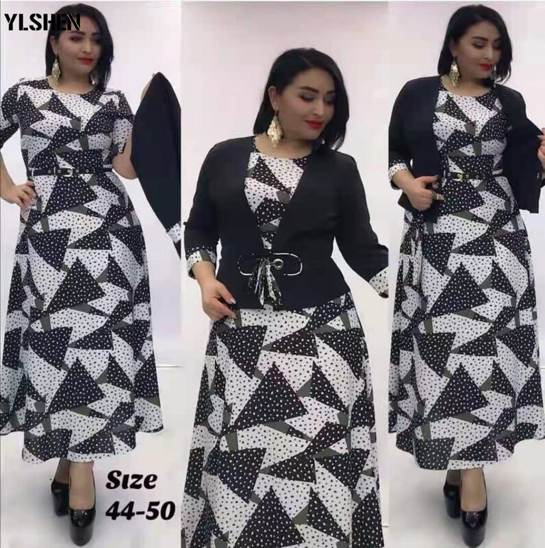 2XL-6XL حجم كبير الخريف الملابس فساتين الأفريقية للنساء الملابس Dashiki طباعة فستان طويل السترة مجموعات عيد الميلاد الجلباب فام