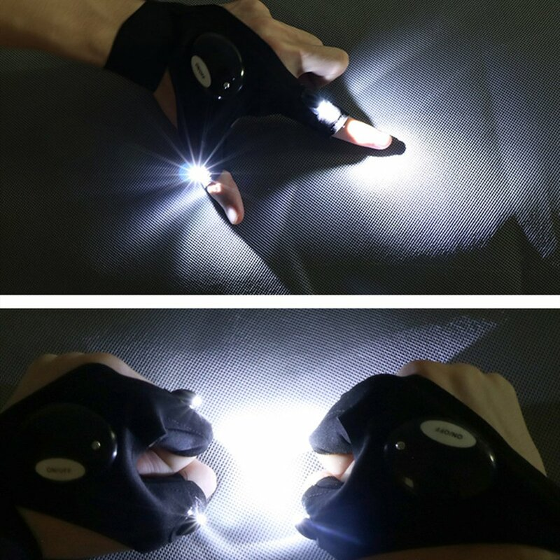 متعددة الوظائف مصباح ليد جيب قفاز تظهر 3 أصابع القطن عالية السطوع الإضاءة في الهواء الطلق الرياضة قفازات الإضاءة