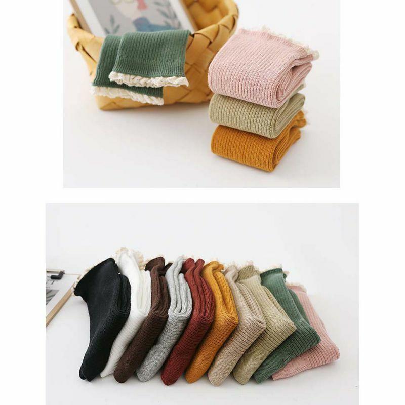 جوارب نسائية من الدانتيل ، الخريف ، الشتاء ، صغيرة ، لون سادة ، Harajuku ، الكاحل