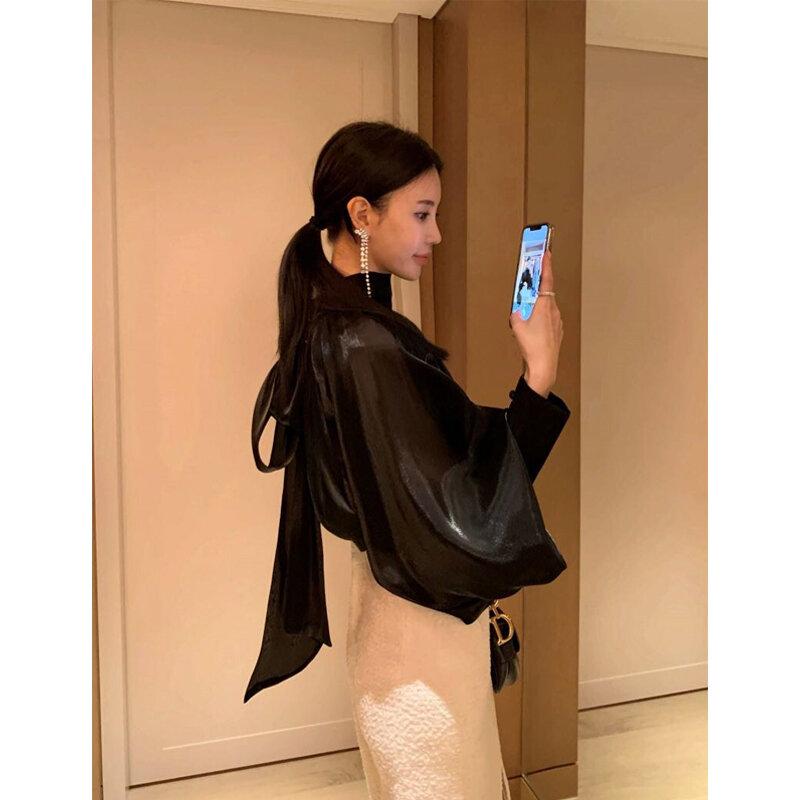 لربيع وصيف المرأة قميص نفخة الأكمام أنيقة شيك الأسود البلوزات مكتب سيدة 2021 الموضة الوقوف طوق كم طويل قمصان عادية