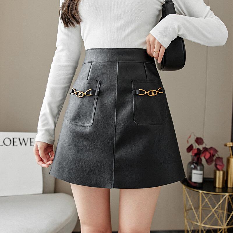 تنورة جلدية خريف شتاء جديد الكورية عالية الخصر تنورة صغيرة Vintage الإناث شيك Harajuku أسود مثير Saia ألف خط بولي Skirts التنانير النساء