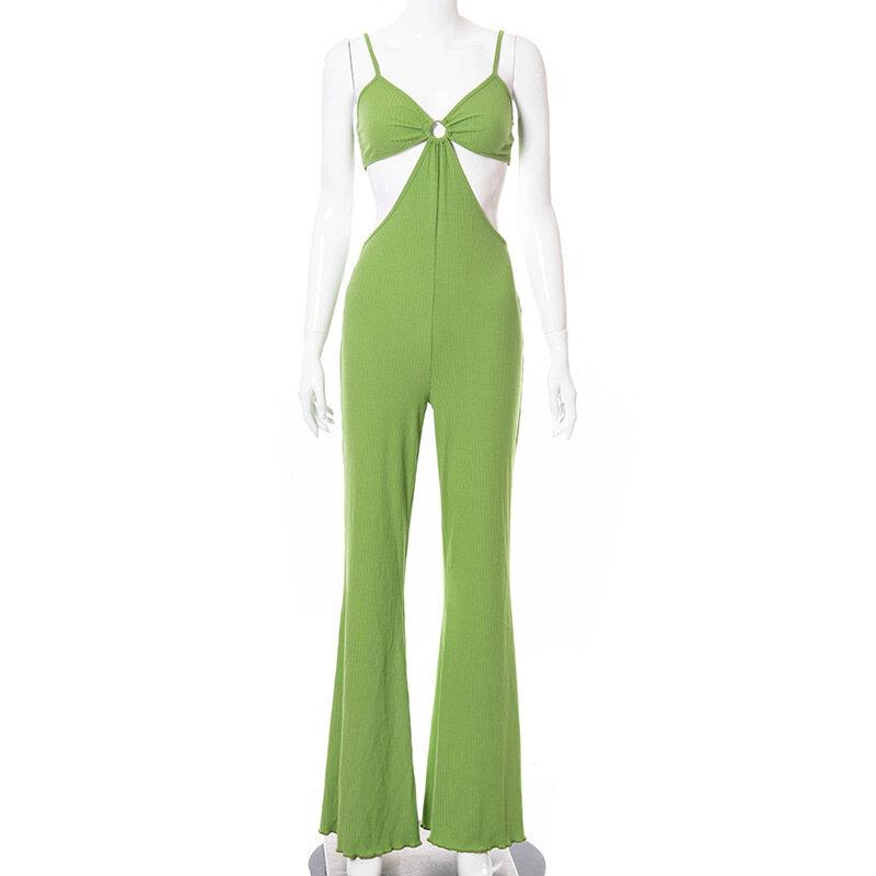 بدلة صيفية ومحبوكة من Sibybo Y2K بدون ظهر بحمالات رفيعة للسيدات فستان مثير للشارع بأرجل واسعة 2021