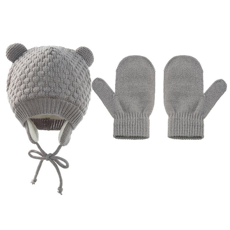 الشتاء الطفل قبعة مع قفازات متعدد الألوان لطيف الضفائر قبعة بونيه الدافئة يندبروف سدادات حماية الأذن قبعة الرضع طفل الملحقات