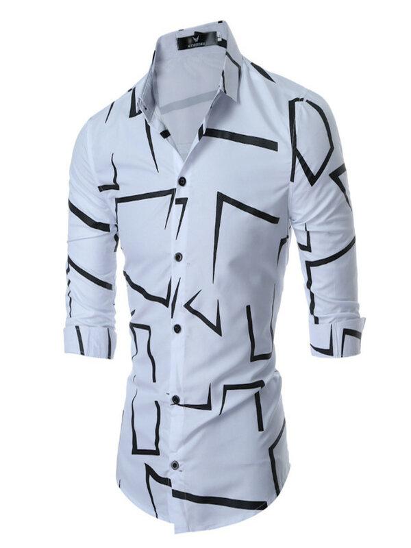 قميص رجالي كاجول ضيق وبأكمام طويلة موضة 2021 قميص عالي الجودة للعمل اليومي