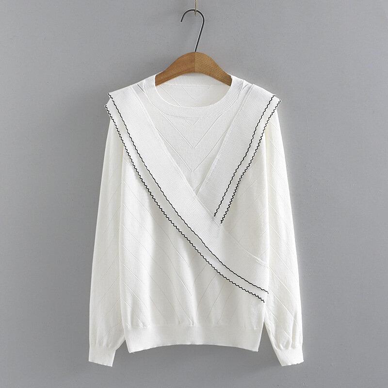 ملابس النساء البلوزات حجم كبير 2021 الخريف جديد سليم عادية الدانتيل الصليب كم طويل البلوز 876