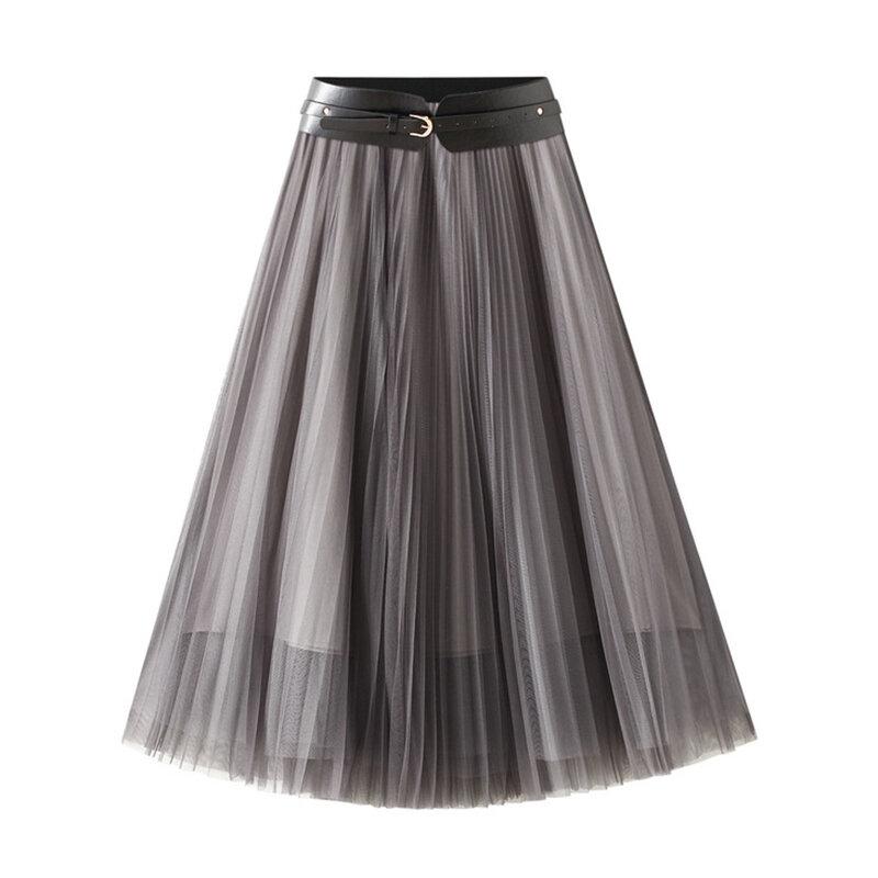 LANMREM 2021 خريف شتاء جديد أنثى عالية الخصر أنيقة شبكة ألف خط تنورة مع حزام المرأة موضة 2W1378
